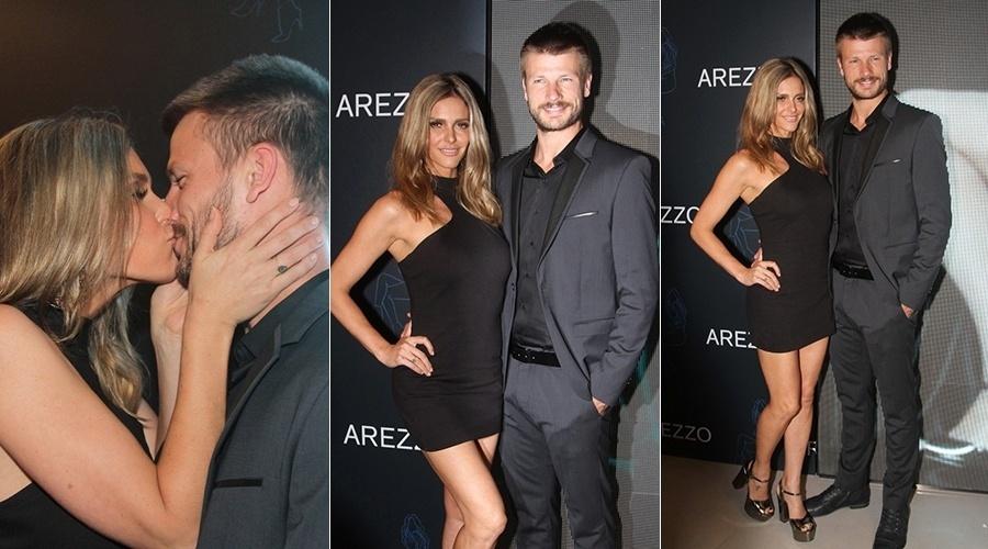 31.mar.2014 - Fernanda Lima e Rodrigo Hilbert trocaram beijos durante inauguração de uma loja de calçados do qual a apresentadora é garota propaganda. O evento aconteceu em São Paulo