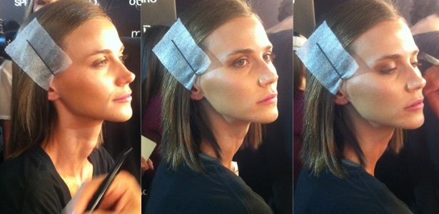 31.mar.2014 - Renata Kuerten é preparada pelo maquiador Silvio Giorgio para desfile no SPFW - Bianca Iaconelli