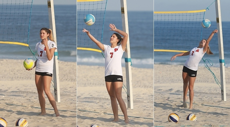 1.abr.2014 - Sasha, filha de Xuxa, jogou vôlei na praia da Barra da Tijuca, zona oeste do Rio. A adolescente de 15 anos faz parte do time do Flamengo