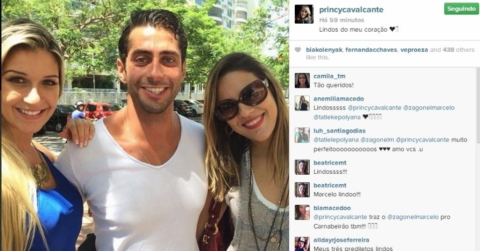 1º.abril.2014 - A goiana Princy também postou foto com Tatiele e Marcelo.