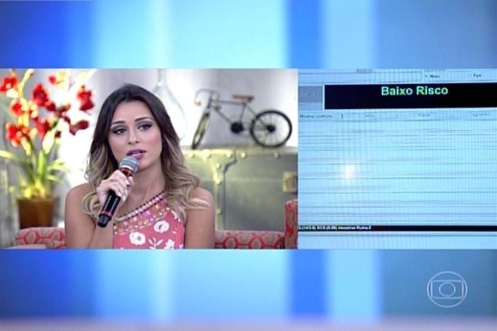 """1º.abril.2014 - Leticia enfrenta detector de mentiras no programa """"Encontro com Fátima Bernardes"""". Ela garantiu que não beijou Marcelo debaixo do edredom"""