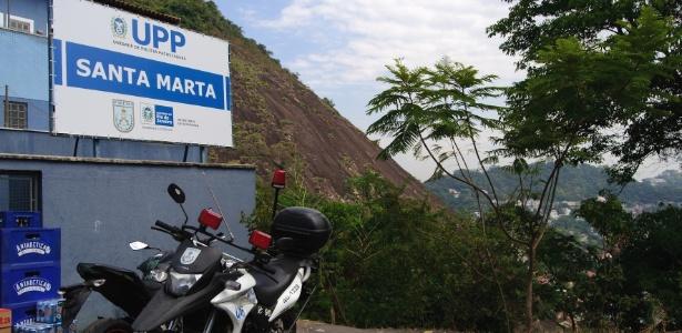 Unidade de Polícia Pacificadora da favela Santa Marta, instalada em 2008