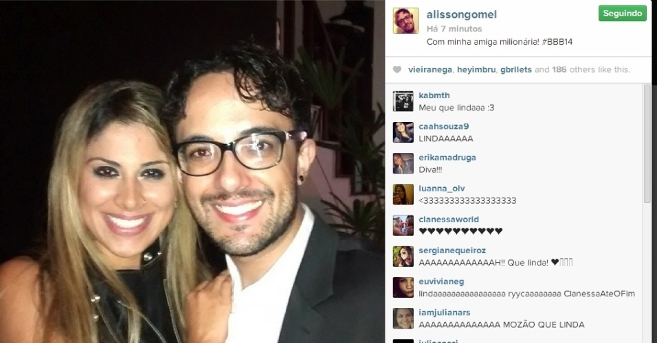 02.abr.2014 - Alisson posta foto com Vanessa e escreve: