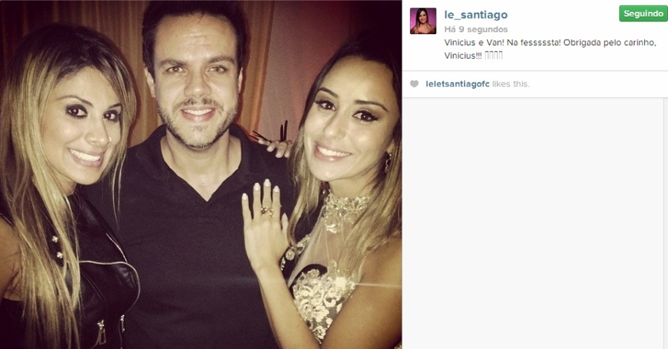 02.abr.2014 - Letícia posta foto ao lado do apresentador Vinicius Valverde e da Vanessa