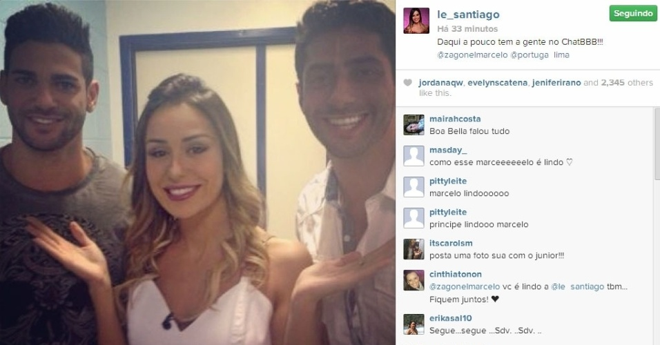 02.abr.2014 - Letícia publica foto dos bastidores do chat do BBB ao lado de Rodrigo e Marcelo