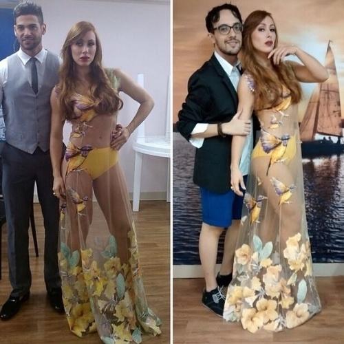 """1.abr.2014 - No Instagram, Aline posou com seu look ousado ao lado dos ex-BBBs Alisson e Rodrigo """"Portuga"""". """"Uma foto especial para todas as minhas trevinhas que pediram-me para postar o look. Aproveitei e pedi ajuda dos cavalheiros Rodrigo e Alisson. E lembrem-se: #AquiSoCabeAmor. Vestido do magnífico Victor  Dzenk!"""", escreveu a atriz"""