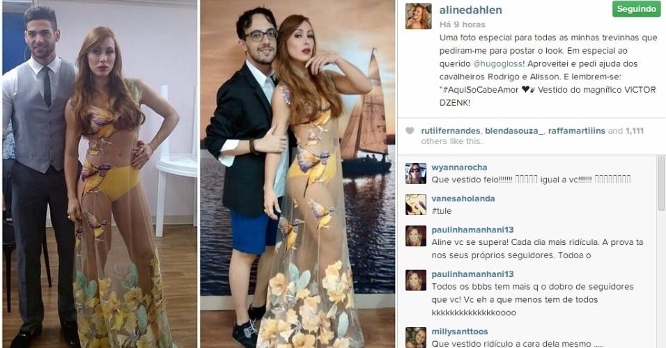1.abr.2014 - No Instagram, Aline posou com seu look ousado ao lado dos ex-BBBs Alisson e Rodrigo