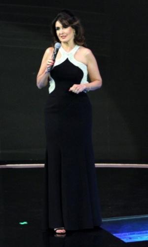 """2.abr.2014 - Fátima Bernardes contou as novidades do """"Encontros"""" durante a """"vem_aí"""", festa de lançamento da nova programação da Globo"""