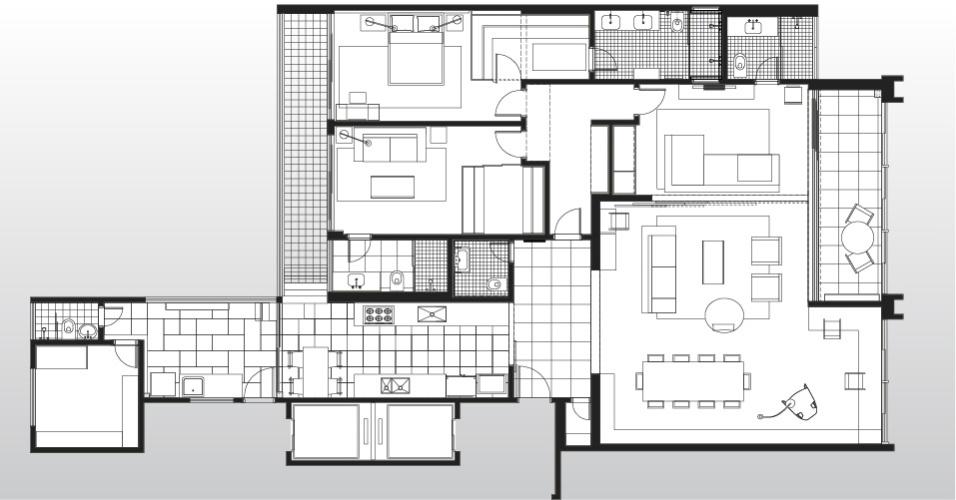 Planta mostra a reforma idealizada pelo SuperLimão Studio para o apê antigo em São Paulo. No imóvel, a área social foi privilegiada, com integração de cozinha (abaixo, à esq.) e home theater (ambiente com sofá em
