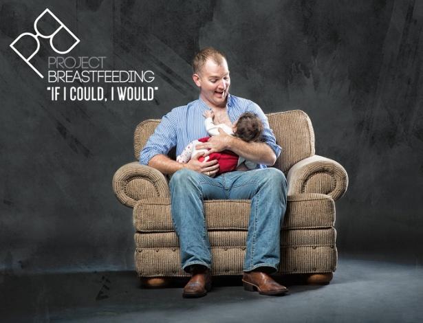 """Campanha traz fotos de homens de peito nu com bebês e frase """"se pudesse, eu faria"""" - Divulgação"""