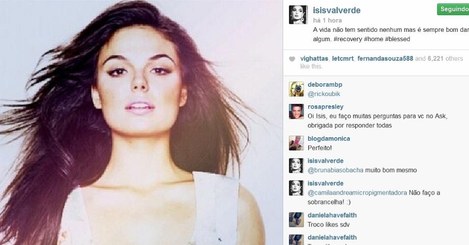 Isis Valverde reflete em rede social: