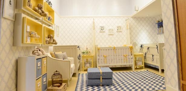A arquiteta Silvana Lara Nogueira usou simetria e cores para decorar o quarto de bebês trigêmeos - Rodrigo Trevisan/ Divulgação