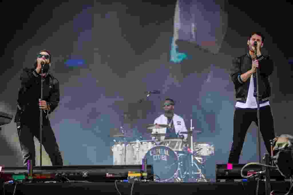 05.abr.2014 - Banda Capital Cities se apresenta no Festival Lollapalooza 2014, no Autódromo de Interlagos, em São Paulo - Avener Prado/Folhapress