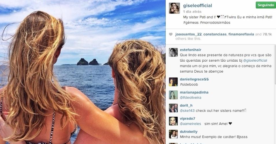 6.abr.2014 - Gisele curtiu a viagem ao lado da irmã gêmea.