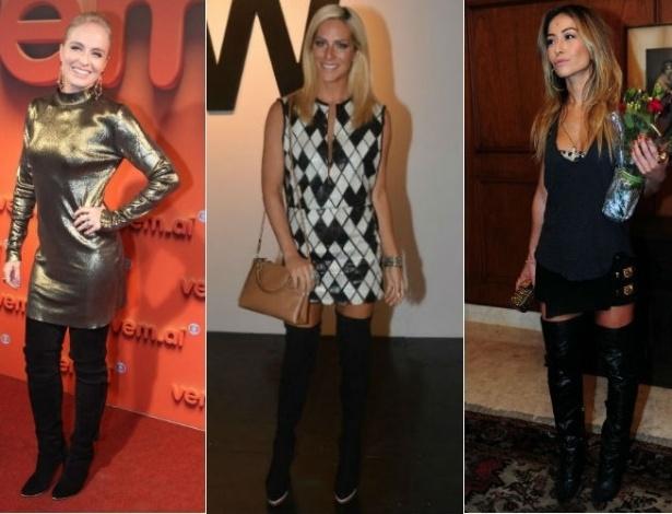 Angélica, Giovanna Ewbank e Sabrina Sato são algumas das famosas que aderiram à tendência das botas acima do joelho - AgNews