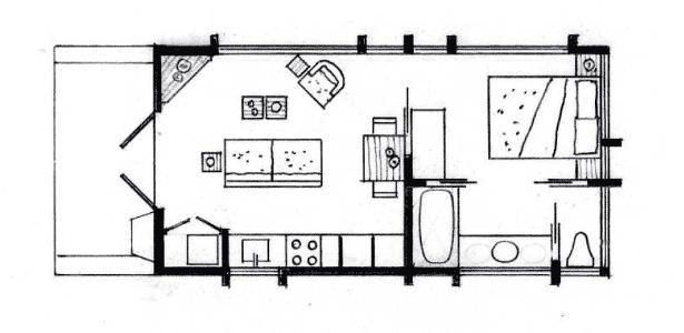 """Desenho original feito por Dan George para a casa """"Escape"""", uma residência que pode ser transportada e """"estacionada"""" - Arquivo Pessoal - Arquivo Pessoal"""