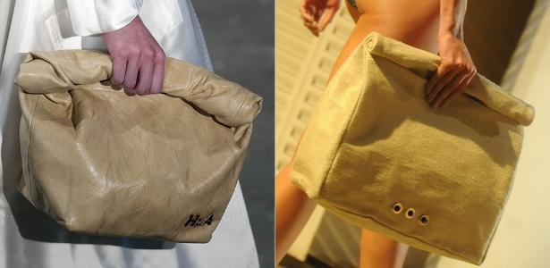"""O Verão 2015 deve ser das bolsas """"saco de pão"""". À esquerda, bolsa desfilada por Alexandre Herchcovitch no SPFW; à direita, a versão da Osklen Praia, mostrada no Fashion Rio - Alexandre Schneider / Antonio Scorza/UOL"""