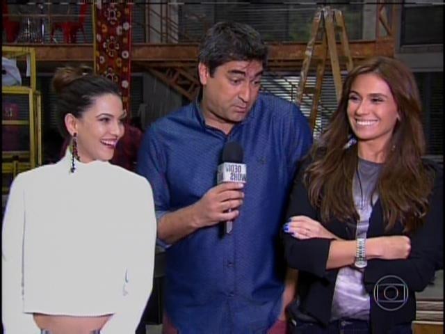 10.abr.2014 - Zeca Camargo entrevistou Tainá Müller e Giovanna Antonelli no