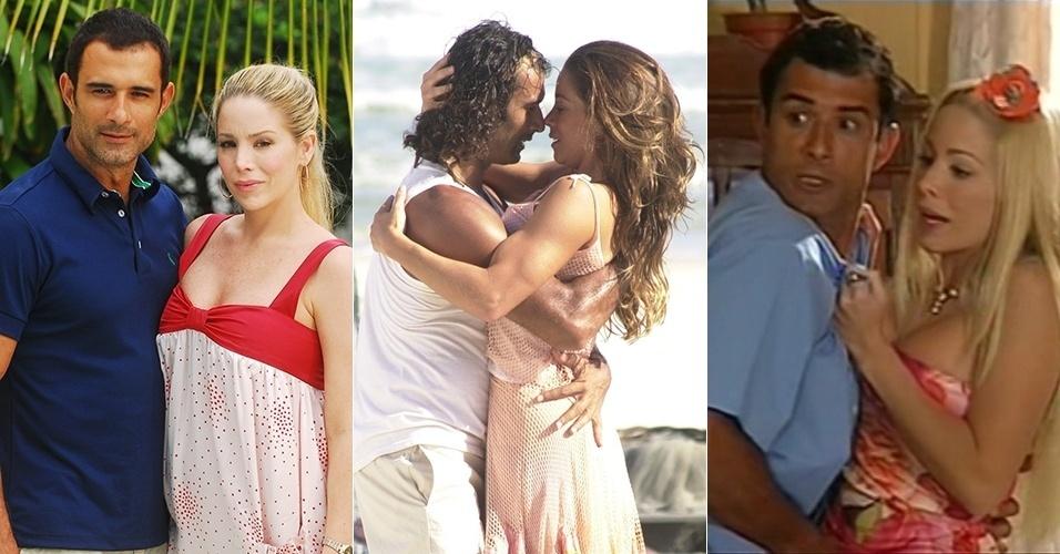 """Danielle Winits e Marcos Pasquim viraram par romântico na série """"Guerra e Paz"""" (2008) e nas novelas """"Kubanacan"""" (2003) e """"Uga Uga"""" (2000)"""