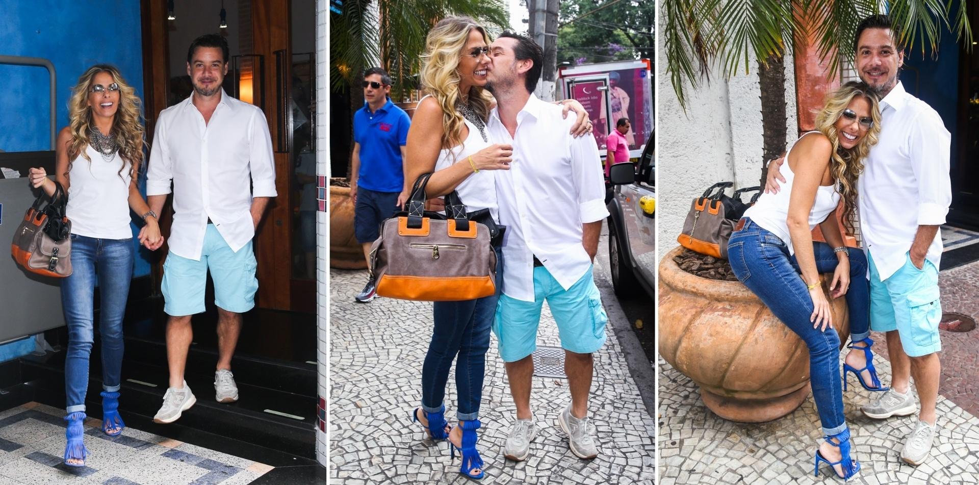 12.abril.2014 - Adriane Galisteu ganha beijo do marido ao deixar restaurante em São Paulo. A demonstração de carinho entre a apresentadora e o empresário da moda Alexandre Iódice foi registrada na tarde deste sábado (12), na porta do restaurante árabe Arábia, localizado no Jardins