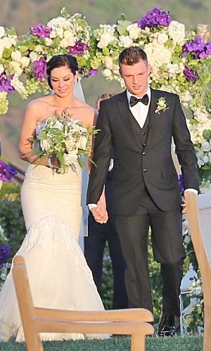 13.abr.2014 - Nick Carter, integrante da boy band Backstreet Boys se casou com Lauren Kitt, em cerimônia realizada em Santa Barbara, na Califórnia.