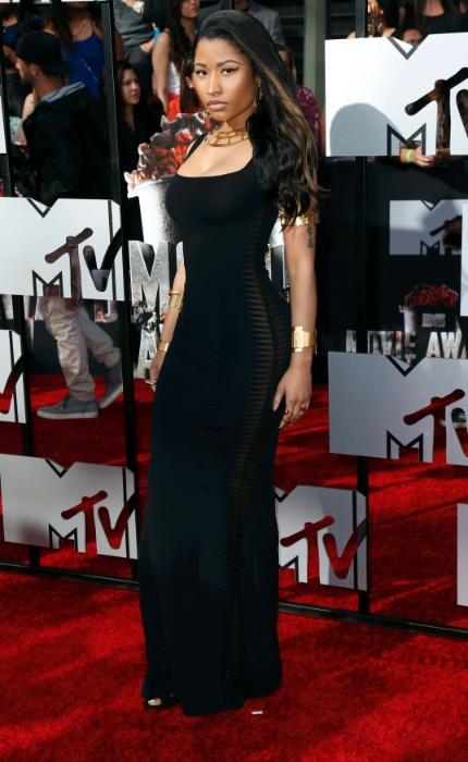13.abril.2014 - Nicki Minaj no tapete vermelho do MTV Movie Awards 2014, na noite deste domingo (13), no Nokia Theatre, em Los Angeles