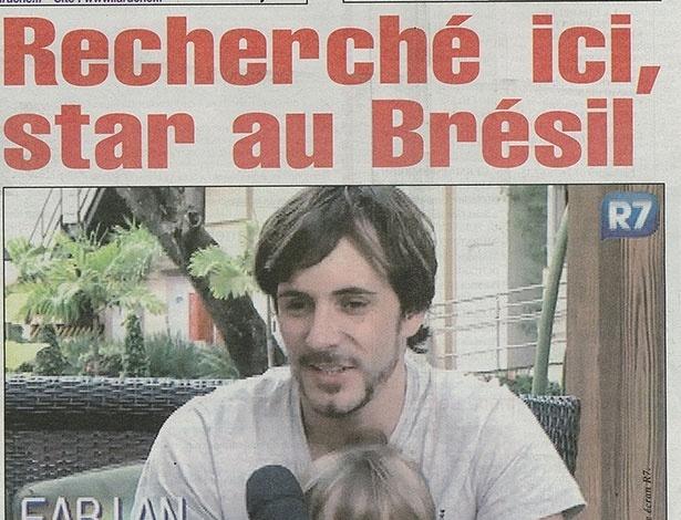 """Capa do jornal francês """"La Ruche"""", que exibe reportagem sobre suposto golpe aplicado por Fabien Teissier: """"Procurado aqui, estrela no Brasil"""""""