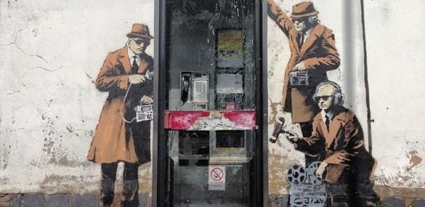 Obra que apareceu misteriosamente em Cheltenham, na Inglaterra, é atribuída ao artista Banksy  - Getty Images