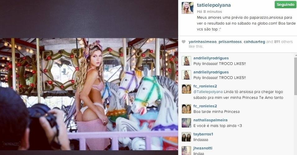 15.abr.2014 - A ex-BBB Tatiele mostrou aos seus seguidores no Instagram uma prévia do ensaio que fez para o Paparazzo. Na imagem, a paranaense aparece de lingerie em um carrossel