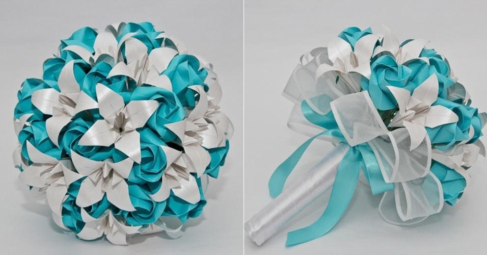 3 - Buquê de rosas e lírios em origami. Da A&M Origami