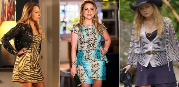 """O estilo de Shirley, interpretada por Viviane Pasmanter na novela """"Em Família"""", abusa das peças em estampa animal, com cores fortes e couro - Divulgação/TV Globo"""