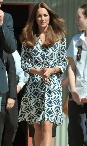 17.abr.2014 - Kate Middleton em Winmalee, Australia. O casal real está a terceira semana do tour pela Austrália e Nova Zeldândia, na primeira viagem internacional com o filho, o príncipe George