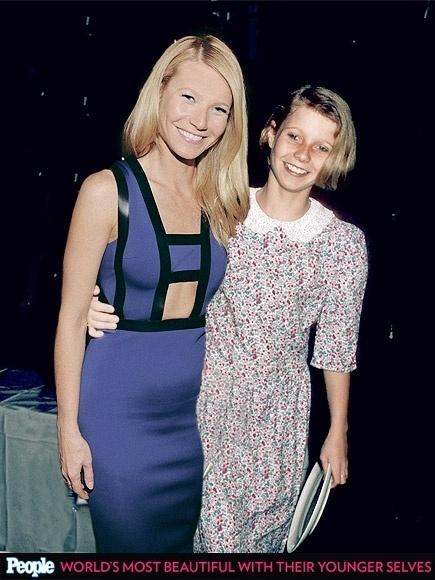 """18.abr.2013 - A revista americana """"People"""" criou um """"reencontro"""" das celebridas com suas versões mais jovens. Na foto, Gwyneth Paltrow em 2014, aos 41 anos, e em 1985, aos 13"""