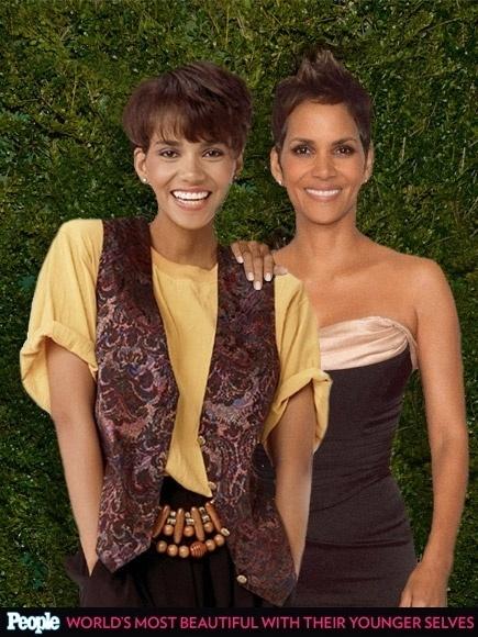 """18.abr.2013 - A revista americana """"People"""" criou um """"reencontro"""" das celebridas com suas versões mais jovens. Na foto, Halle Berry em 1989, aos 23 anos, e em 2013, aos 50"""