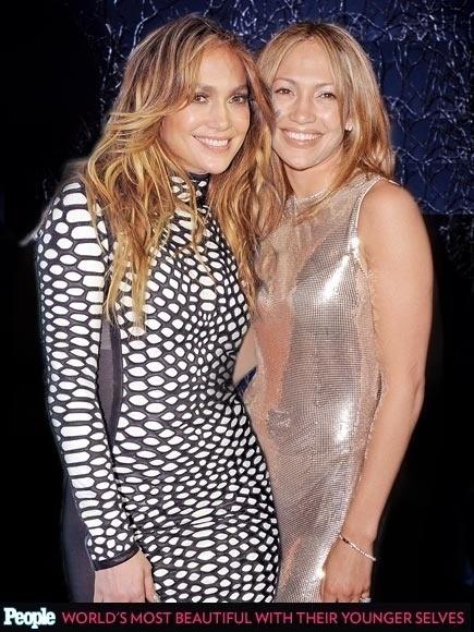 """18.abr.2013 - A revista americana """"People"""" criou um """"reencontro"""" das celebridas com suas versões mais jovens. Na foto, Jennifer Lopez em 2014, aos 45 anos e em 1990, aos 21"""