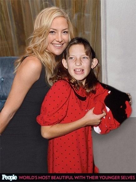 """18.abr.2013 - A revista americana """"People"""" criou um """"reencontro"""" das celebridas com suas versões mais jovens. Na foto, Kate Hudson em 2014, aos 34 anos, e em 1989, aos 10"""