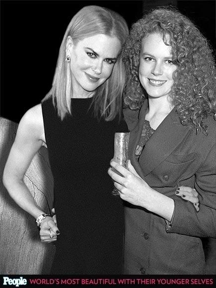 """18.abr.2013 - A revista americana """"People"""" criou um """"reencontro"""" das celebridas com suas versões mais jovens. Na foto, Nicole Kidman em 2013, aos 45 anos e em 1988, aos 21"""