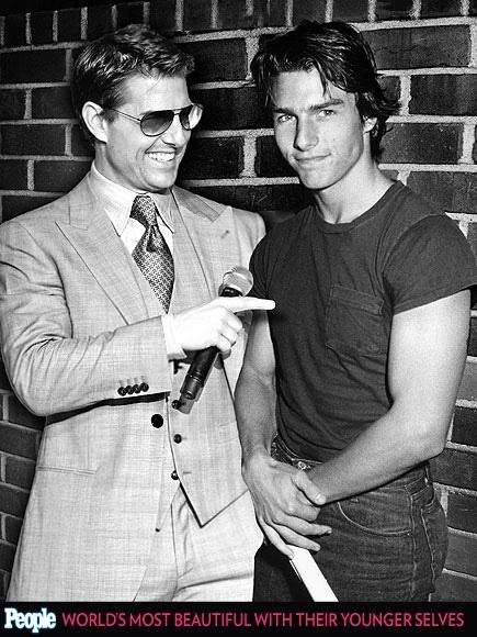 """18.abr.2013 - A revista americana """"People"""" criou um """"reencontro"""" das celebridas com suas versões mais jovens. Na foto, Tom Cruise em 2013, aos 50 anos e em 1983, aos 21"""
