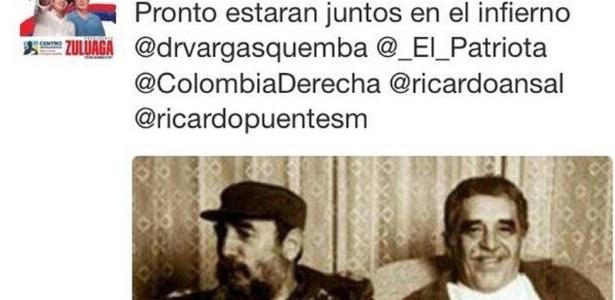Tuite da deputada colombiana que disse que García Márquez encontrará Fidel no inferno - Reprodução/El Universal