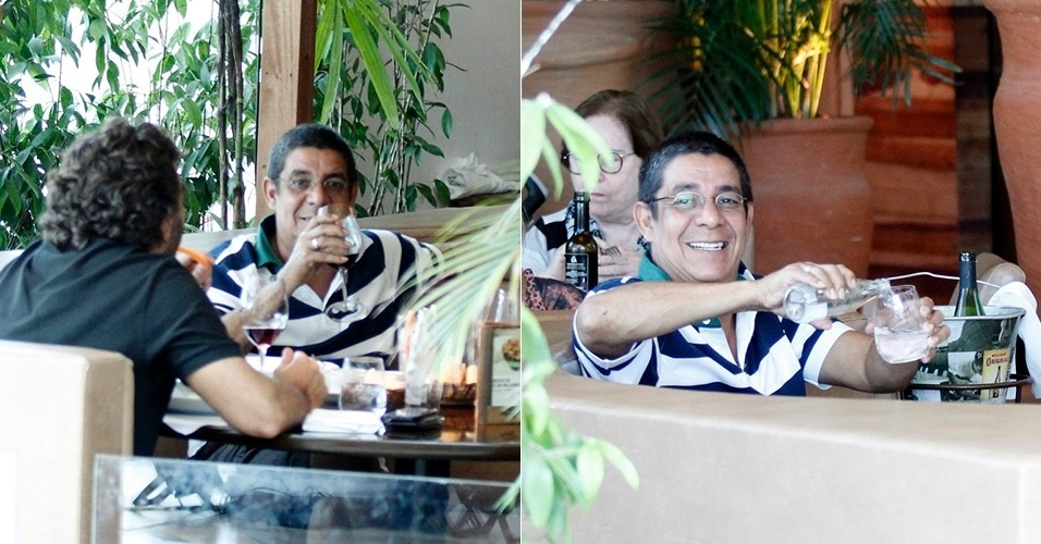 21.abr.2014 - Durante almoço com um amigo em restaurante na Barra da Tijuca, o sambista Zeca Pagodinho trocou sua tradicional cerveja por vinho. O artista, bastante identificado com a bebida, ainda brincou com o fotógrafo ao mostrar que estava bebendo água. Ele também parou para tirar fotos com fãs no restaurante