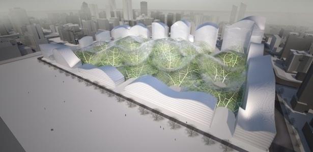 """""""Oásis"""" de ar limpo: o projeto """"Bolhas"""" propõe instalar enormes estruturas com vegetação em seu interior - Orproject/Divulgação"""