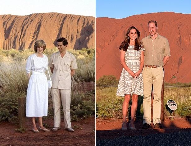 22.abr.2014 - Kate Middleton e príncipe William visitam o Uluru, na Austrália, e tiram foto semelhante a registrada pelos pais do duque de Cambridge, Charles e Diana, em 1983