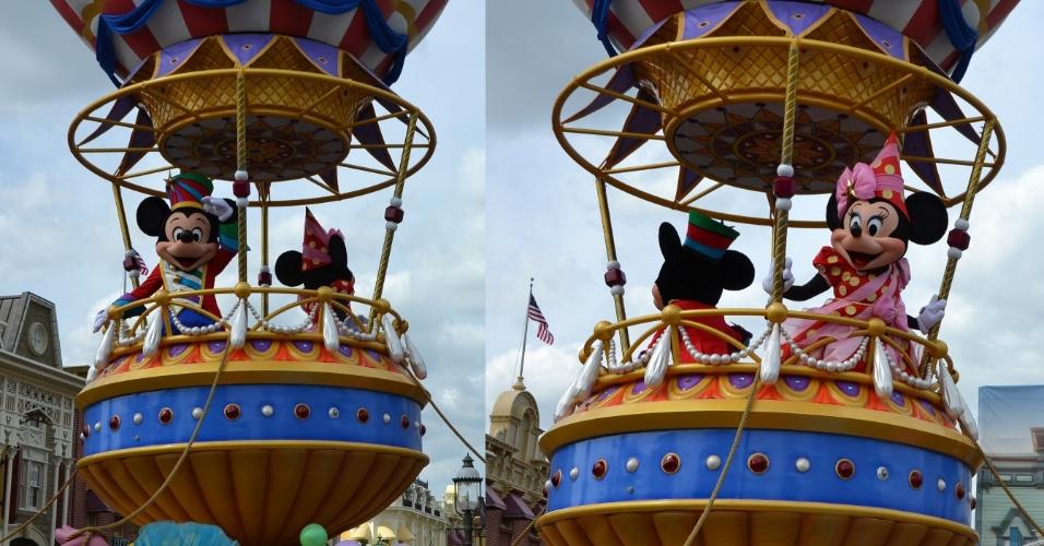 A parada termina em alto astral, com Mickey e Minnie Mouse em figurinos especiais e inéditos