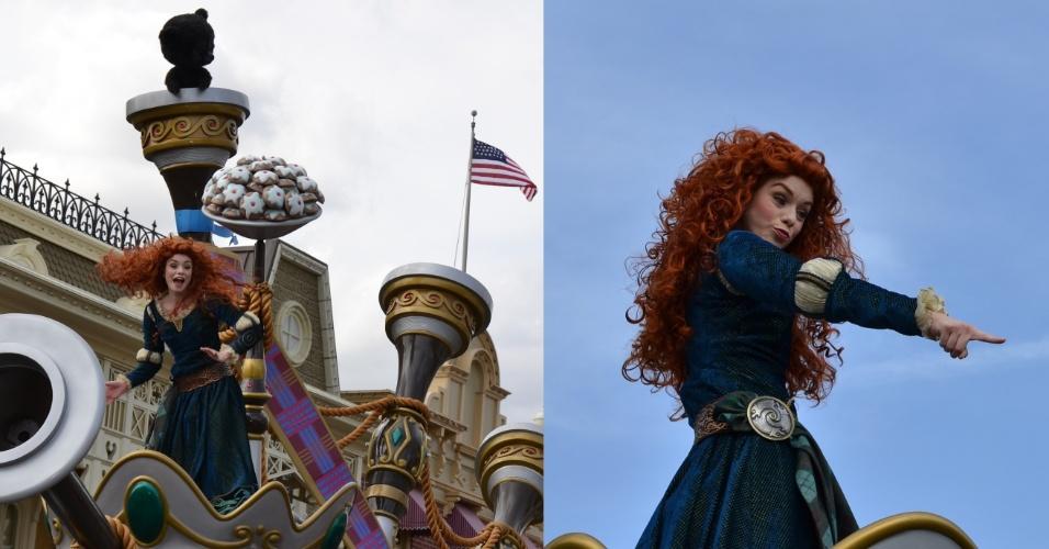 A princesa Merida surge com seus cabelos esvoaçantes em meio a dançarinos escoceses e casais celtas