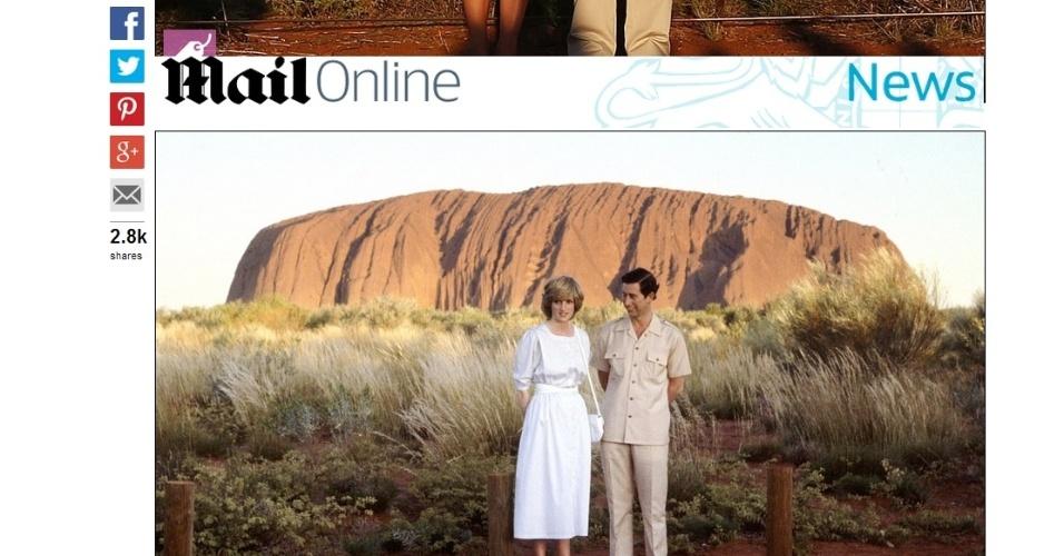 Charles e Diana em Uluru, na Austrália, em 1983