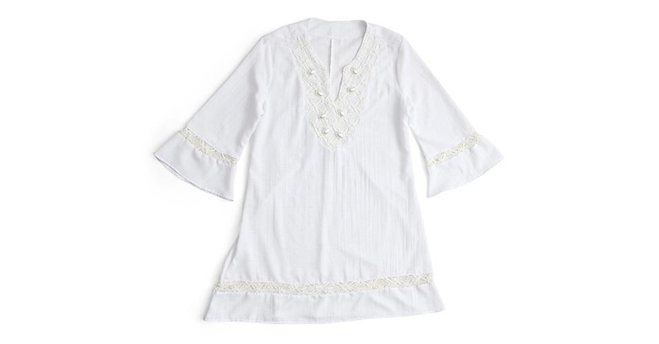 De algodão com aplicações de crochê e pérolas; R$ 281 da Mar Rio (www.marrio.com.br)