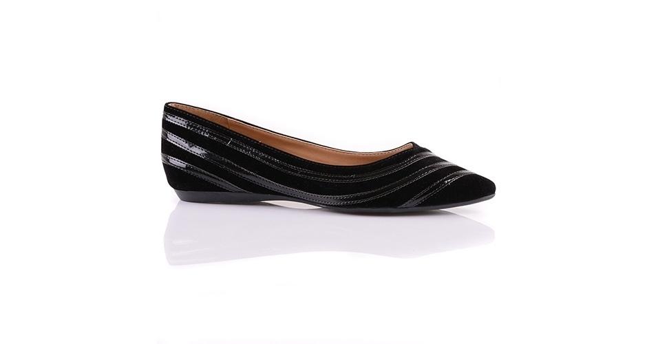 De camurça e verniz; R$ 89,90 da Mundial Calçados (www.mundialcalcados.com.br)