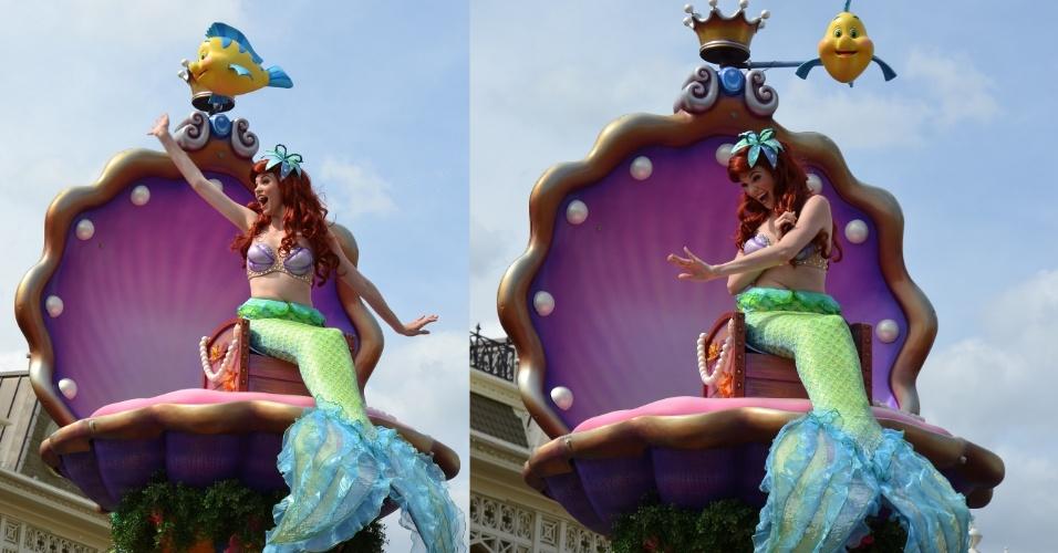 Disney Festival of Fantasy Parade conta com a princesa Ariel em sua concha colorida