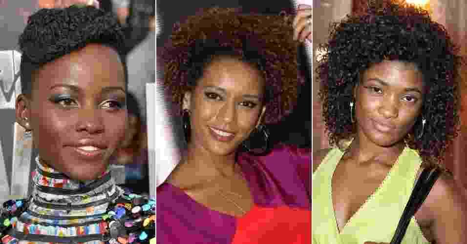 Lupita Nyong'o, Taís Araújo e Erika Januza exibem cabelos afro em diversos estilos - Getty Images/Rede Globo/Claudio Andrade e Thyago Andrade/Photo Rio News