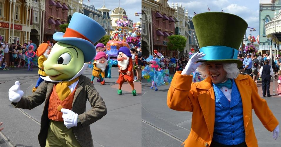 O Grilo Falante e o Chapeleiro Maluco animam a Disney Festival of Fantasy Parade
